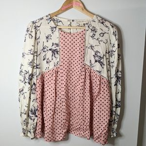 Luna moon floral polka dot blouse size small